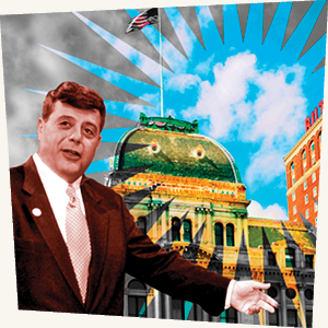Buddy Cianci in front of Providence City Hall